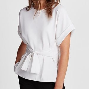 Express White Front Tie Top